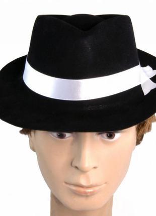 Шляпа мужская мафия флок черная с белой лентой +подарок
