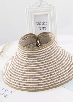 Солнцезащитная складная женская шляпа соломенная полосатая