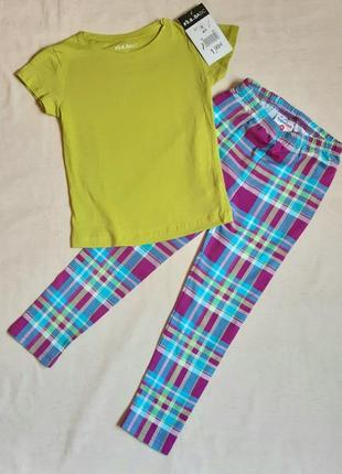 Комплект лимонная футболка и лосины в клетку topolino германия на 6 и 8 лет (116, 128см)