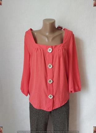 Фирменная george блуза в сочном цвете коралл скрупными пуговицами, размер хл