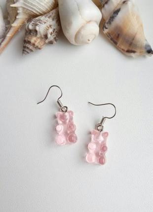 Серьги мармеладные мишки, желейные, сережки gummy bear, розовые, рожеві, тренд 2021