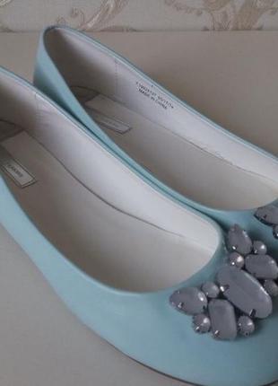 Балетки туфли голубые мятные тиффани dorothy perkins
