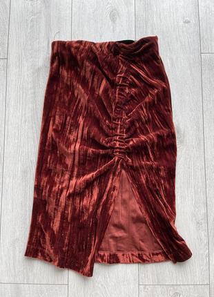 Zara юбка миди велюровая мягкая xs s  с разрезом