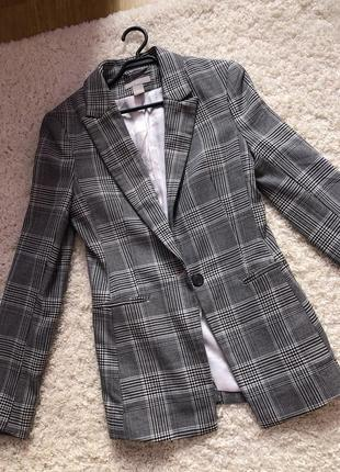 Пиджак клетчатый серый h&m