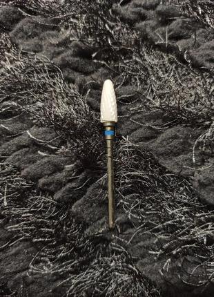 Керамическая фреза кукурузка для снятия гель-лака с синей насечкой