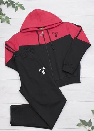 Женский двухцветный спортивный костюм с капюшоном черный штаны кофта модный