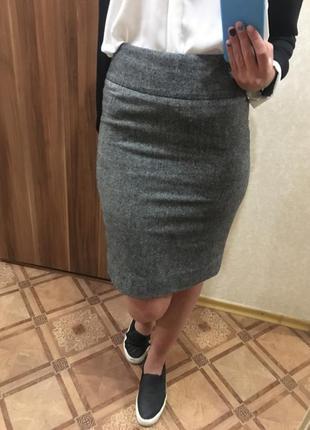 Новая модная демисезонная тёплая юбка футляр на высокой талии