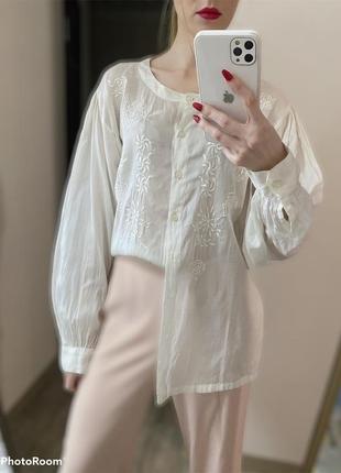 Вискоза,хлопок.блуза с большими рукавами и вышивкой белая блуза в офис