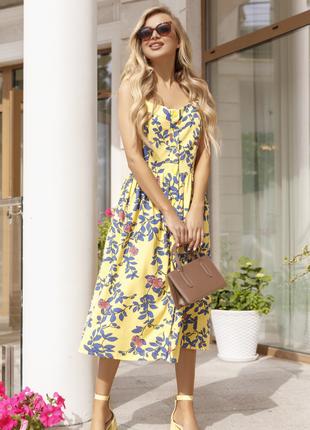 Желтый льняной сарафан миди летнее платье