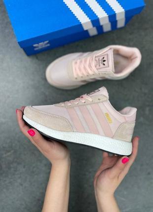 Женские кросовки замша adidas iniki runner pink