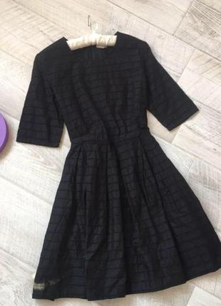 Чёрное хлопковое миди платье gap