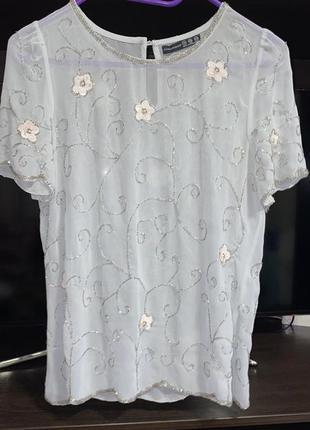 Шифоновая нарядная блузка с бисером раз.l