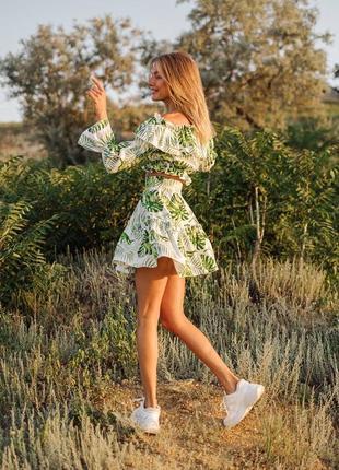 Льняной костюм юбка и топ с открытыми плечами, качество люкс5 фото