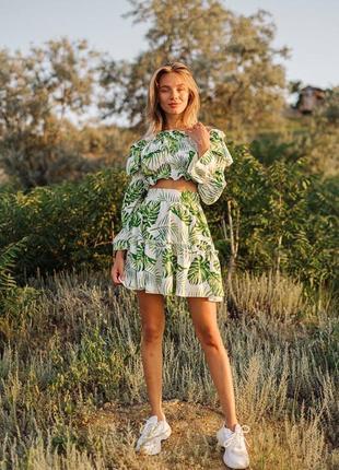 Льняной костюм юбка и топ с открытыми плечами, качество люкс6 фото