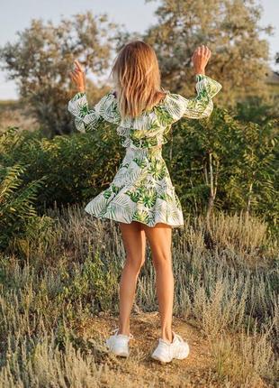 Льняной костюм юбка и топ с открытыми плечами, качество люкс7 фото
