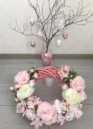 Венок из натуральной лозы в нежно розовых тонах!