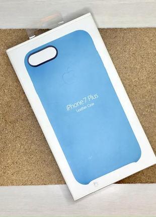 Чехол кожаный голубой на для айфон iphone 7 + плюс plus силиконовый оригинальный