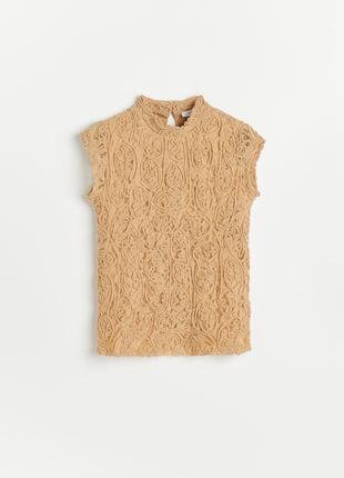 Кружевная блуза reserved бежевого и бирюзового  цвета с воротником стойкой, размер хс, с
