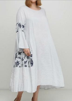 Шикарное льняное платье лен бохо италия