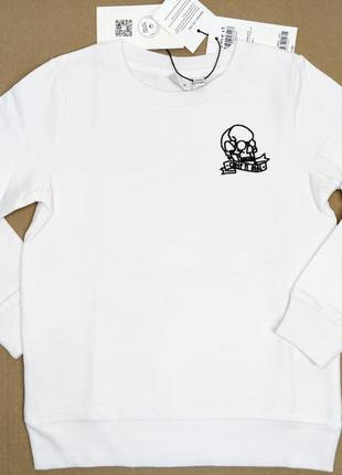 Белый свитшот кофта на флисе свитер худи c черепом name it
