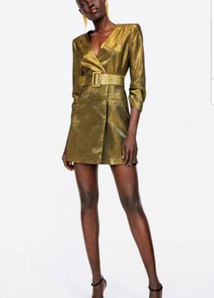 Золотое платье пиджак zara p.s/m