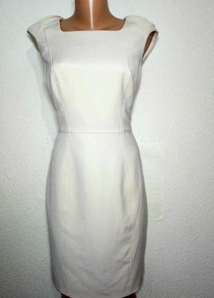 Платье миди бежевое прямого силуэта р 12 f-f