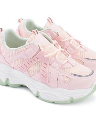 Женские розовые кроссовки со светло-бирюзовый подошвой