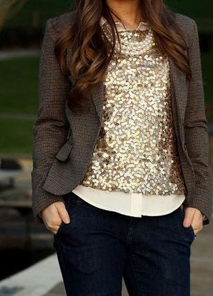 Блуза футболка золотистая золотая в пайетках 42 44 наш размер тренд года!