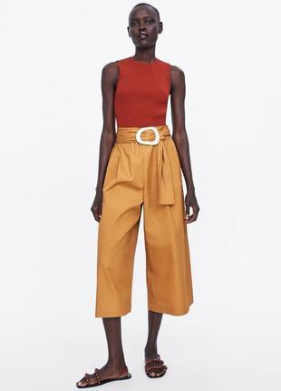 Zara брюки - кюлоты с поплина с поясом  xs
