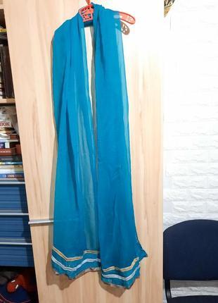 Палантин бирюзовый, шарф прозрачный