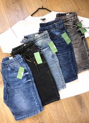 Джинсовые шорты reserved с поясом на резинке
