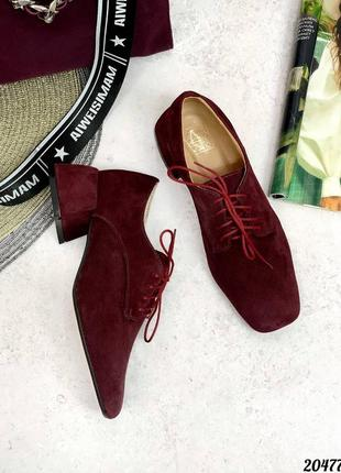 Туфли натуральные на среднем каблуке