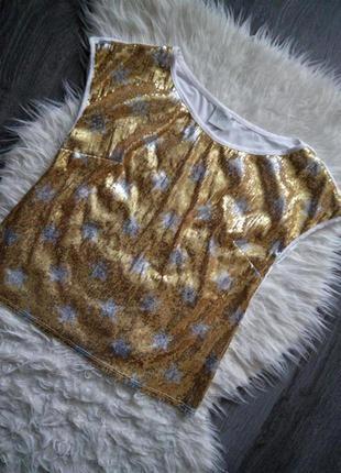 Футболка в пайетки  топ в пайетки блуза в золотые,серебряные  пайетки ,звёзды