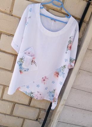 Льяная блуза в цветочный принт с карманчиком большого размера раз. 3xl-4xl