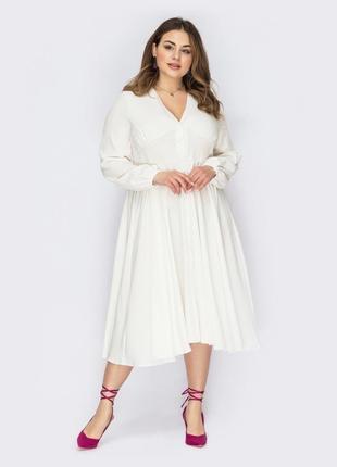 Романтичное белое платье большого размера свадебное  миди ниже колен свадебное