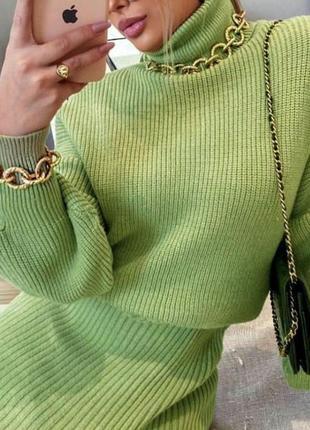 Зелёный вязаный костюм турция