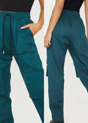 Распродажа!штаны милитари джоггеры высокая талия от prettylittlething