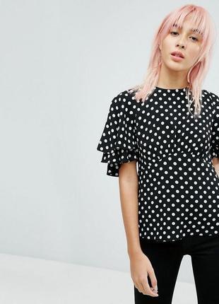 Женственная блуза вискоза new look горох горошек