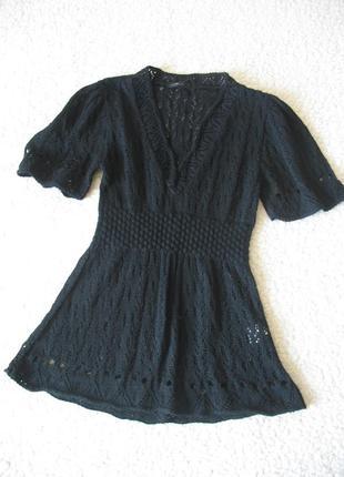 Черная кружевная кофточка с короткими рукавами