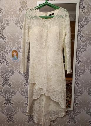 Нежное кружевное платье айвори, праздничное, нарядное, свадебные, выпускное, со шлейфом