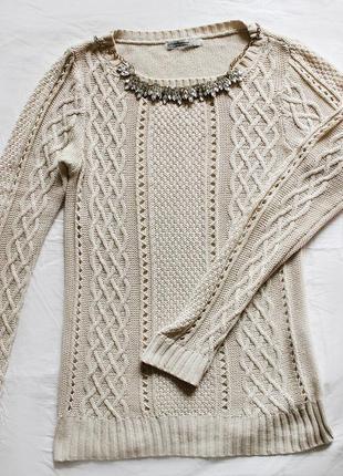 Светло-бежевый свитер stradivarius