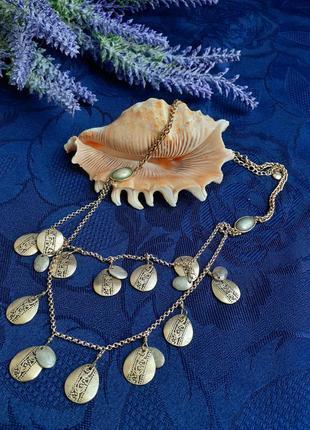 Ожерелье с монетками монисто позолота винтаж металллиз клэйборн колье