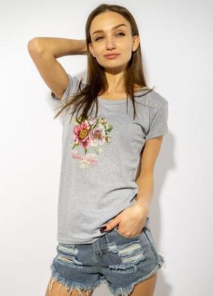 Серая футболка женская с цветочным принтом