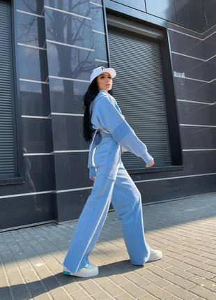 Костюм прогулочный спортивный широкие штаны топ худи