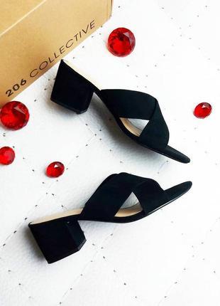 206 collective оригинал черные замшевые босоножки сабо на удобном каблуке