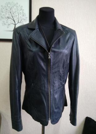Темно-синяя куртка кожа сток