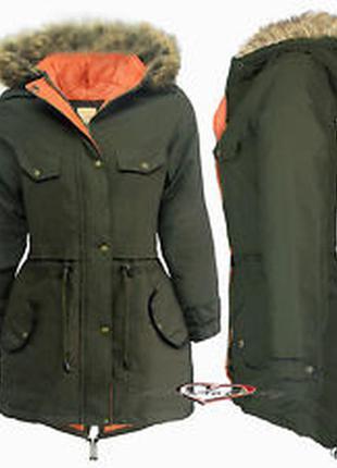 Стильная куртка парка хаки зимовая noroze boutique
