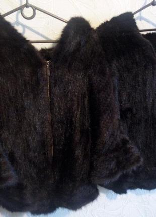 Женская норковая жилетка, шаль, пончо из скандинавской вязанной норки