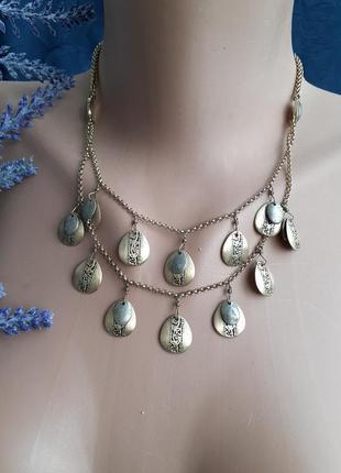 Ожерелье монисто колье с монетками оригинал винтаж с монетками позолоченное с серебром
