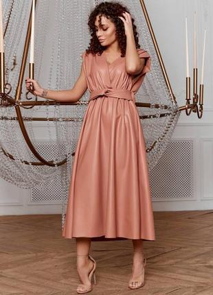 Элегантное кожаное платье 8241-1